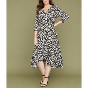Lane Bryant NEW leopard print faux wrap midi dress